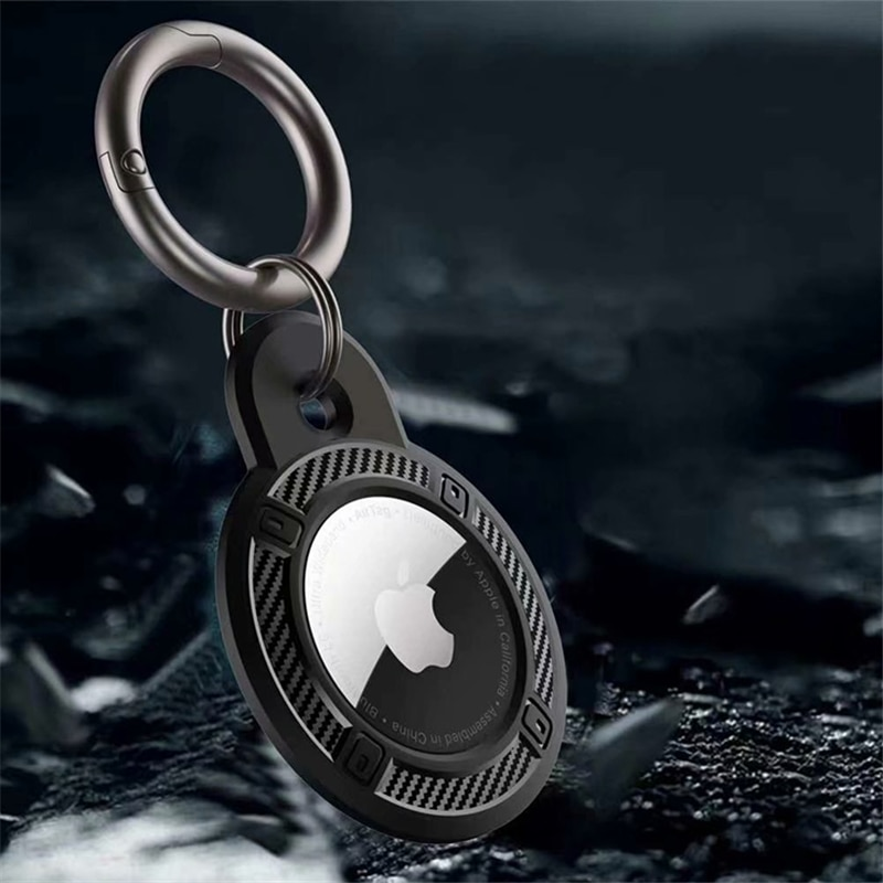 For Apple Airtag Case Carbon Fiber Protective Sleeve Cover Keychain Airtags-tracker Silicone Cases f