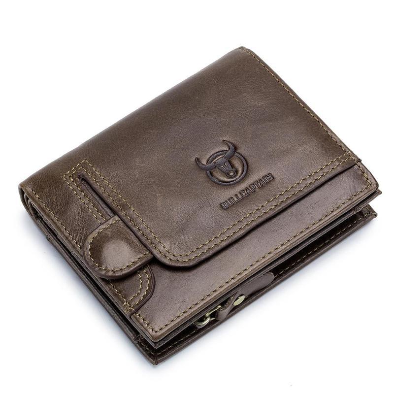 BULLCAPTAIN-cartera Vintage de cuero para Hombre, monedero corto Delgado, monedero, bolsos porta...