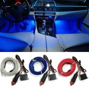 5m Car Interior Lighting Auto LED Strip EL Wire Rope Auto Atmosphere Decorative Lamp Flexible Tube