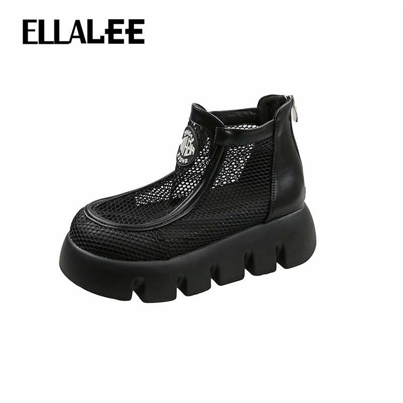 ELLALEE Women Summer Boots Round Toe Cool Breathable Female Shoes Mesh Punk Style Modern Style Soft Woman's Shoe