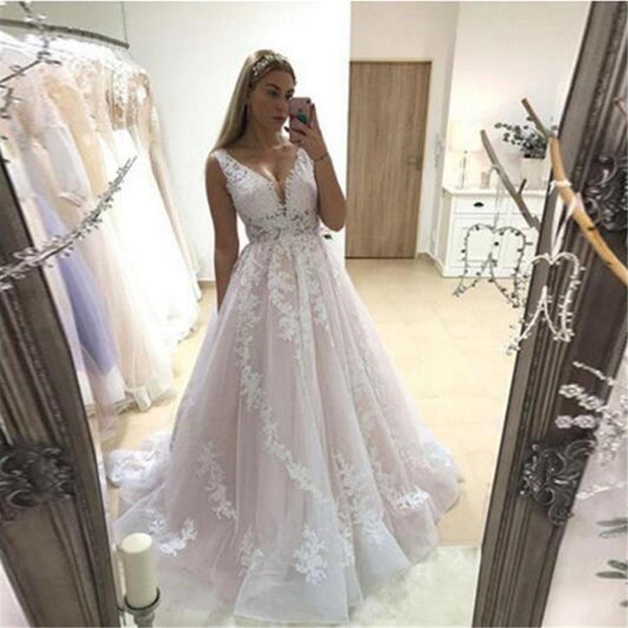 Review Glorious V-neck Sleeveless Brush Train Strapless Lace Backless Bride Dresses Wedding Dress 2021Handmade Full Size