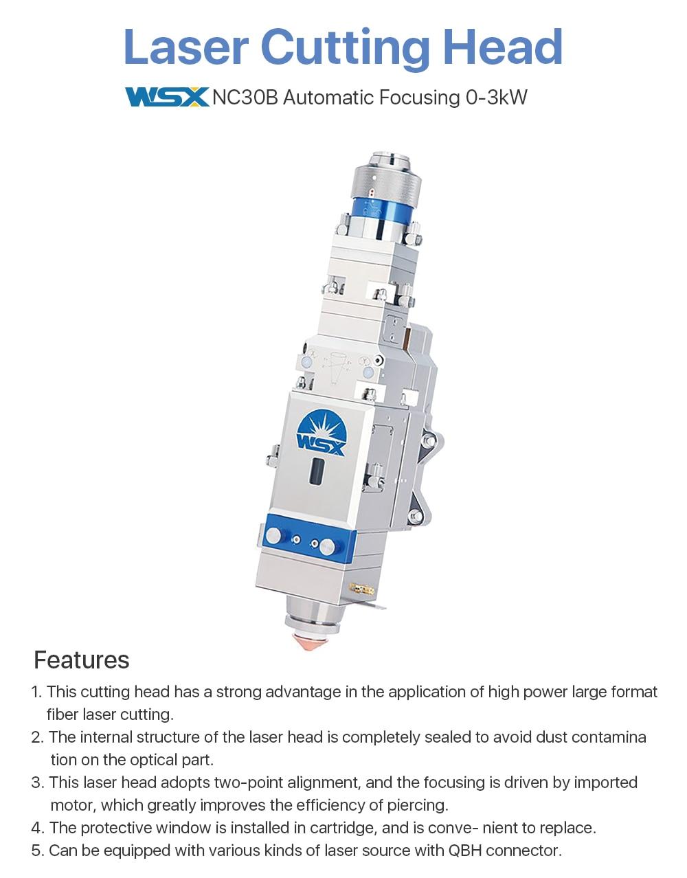 WSX 0-3KW NC30B Fiber Laser Cutting Head Automatic Focusing High Power QBH 3000W for Metal Cutting