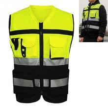 1Pc sécurité visibilité gilet réfléchissant chaîne tricot tissu unisexe Construction trafic vêtements de cyclisme réfléchissant protéger vêtements