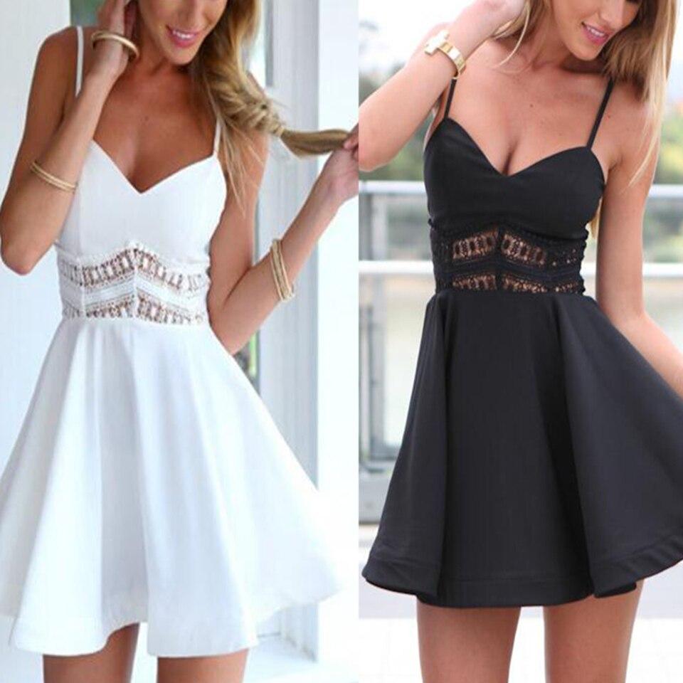 Oco para fora sling cutwork renda bordado vestido feminino sukienka profundo v pescoço vestido grande swing cintura alta mini vestido preto e branco