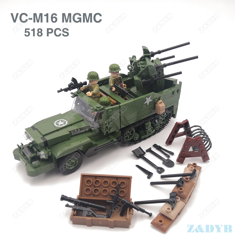M16 MGMC US Army Half track Military Vehicle Tank Panzer WW2 Mini Soldier Locking Figure Model Build