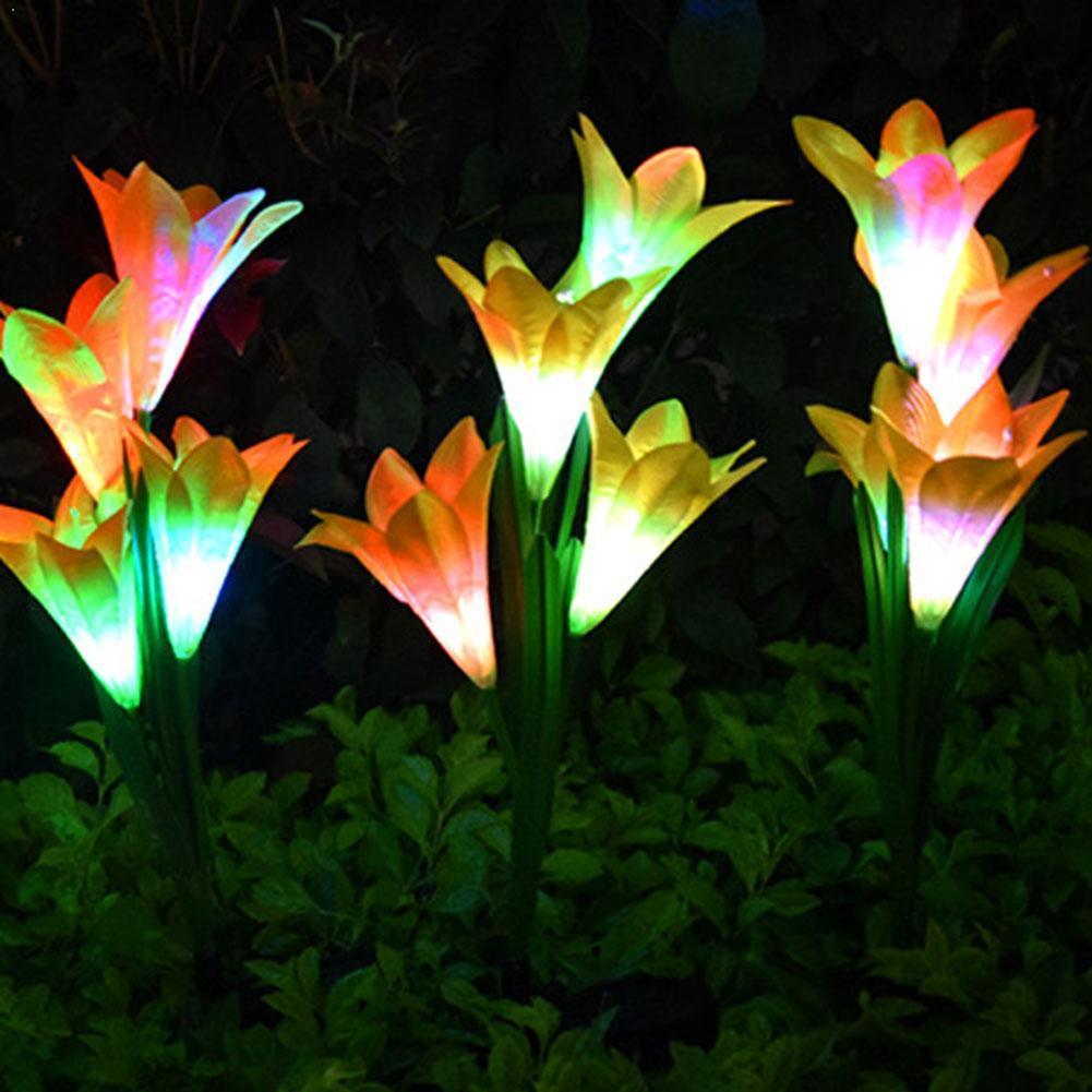 Luz Solar Led para exteriores, decoración decorativa impermeable de flores para jardín, lámpara de césped para boda, lámpara de lirio, lámpara de simulación de colores Gard G8B6