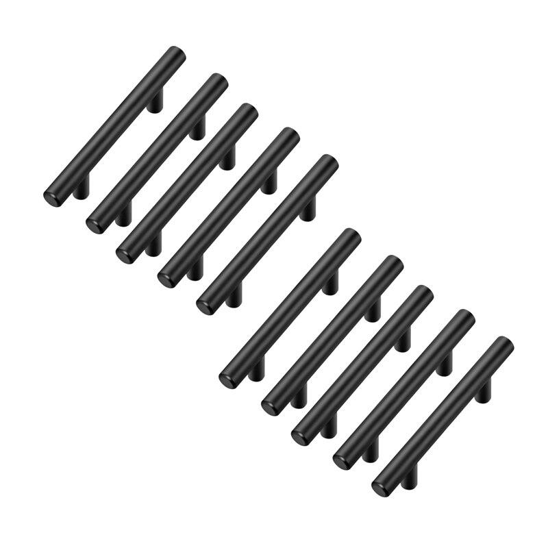 Pack de 10 tiradores de gabinete de 5 pulgadas, tiradores de armario de cocina de acero inoxidable negro mate, manijas de armario de 5 pulgadas de longitud, agujero de 3 pulgadas Cen