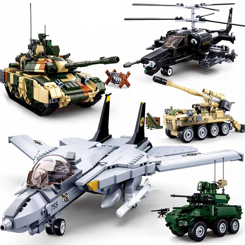 Compatible Military vehicle sets model copter warplane model planes Building Blocks Bricks Toys SWAT gunship battle tank