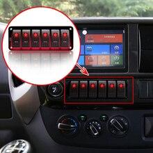 DC 12V - 24V  6 Gang Accessories  LED Rocker Switch Panel Waterproof Circuit Boat truck Circuit Breaker Headlights Indicator