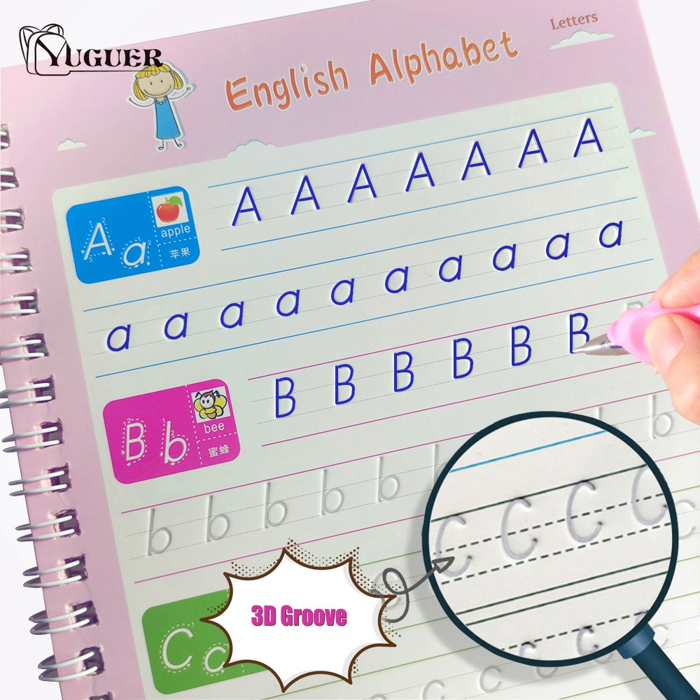 Reusable Writing Paste Calligraphy Handwriting Copybook For Kids Word Children's Book English Calligraphic Letter Practice Toy enlarge