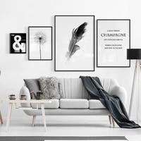 Affiches de peinture sur toile avec plumes de pissenlit  image artistique murale pour fille  decoration de salon  decoration de maison