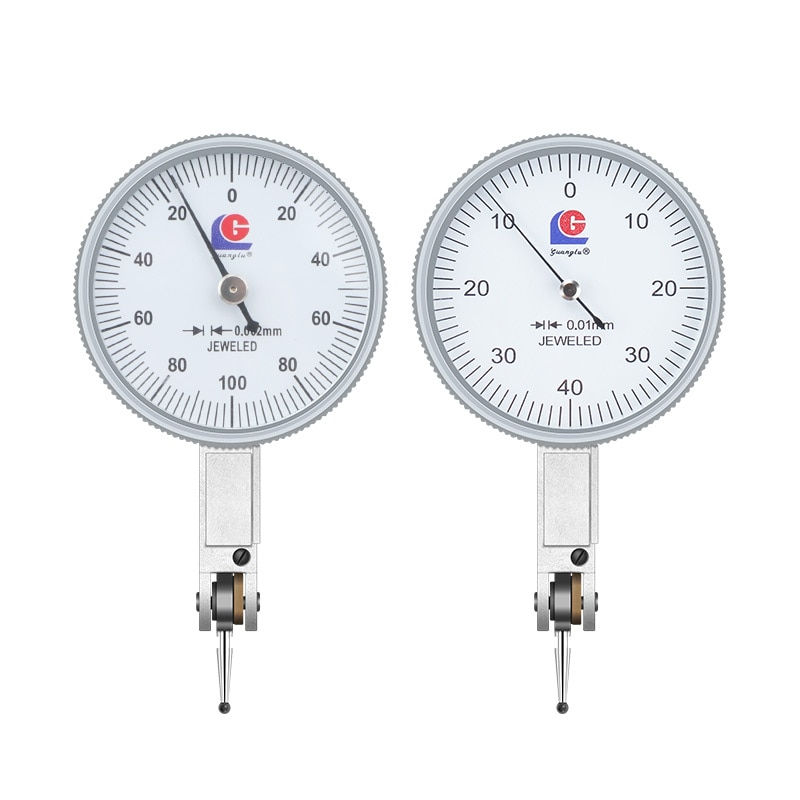 Guilin Guanglu Indicador de dial de palanca de cambios, reloj escolar pequeño de 0 a 0,8mm, indicador de palanca de cambios, indicador de dial de 0,2mm, lecturas de Esfera Grande