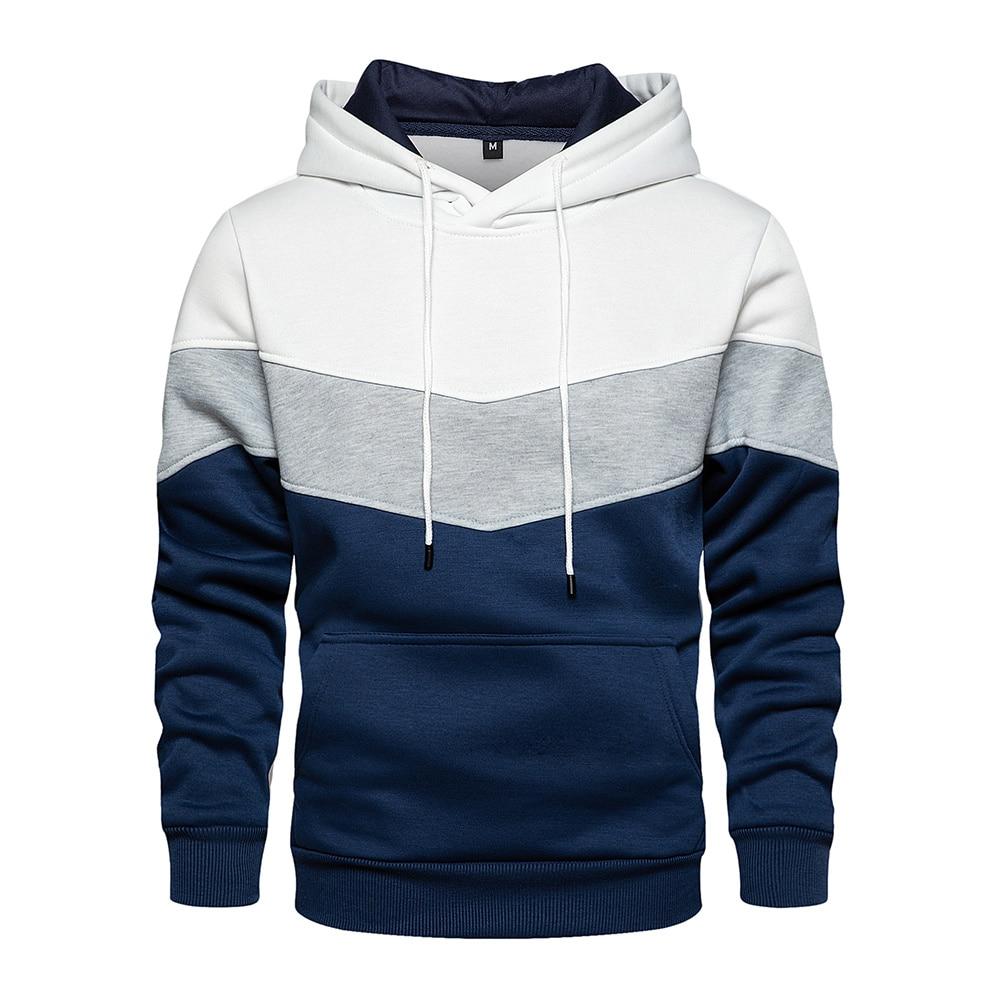 Men Hoodies Sweatshirts Patchwork 2021 Autumn Casual Hoodie Male Thick Hoodies Hip Hop Streetwear Hooded Pullover Men Clothing недорого