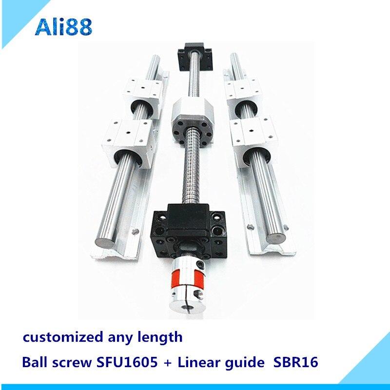مجموعة السكك الحديدية الخطية اللولبية 16 مللي متر: SFU1605 أي طول مع مفتاح طرفي وملحقاته دليل خطي SBR16 مع كتل منزلقة SBR16UU