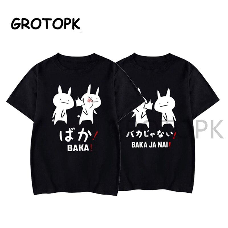 Baka Rabbit японская парная футболка, летняя женская черная футболка Harajuku, уличная Мужская одежда, хлопковая Футболка с аниме