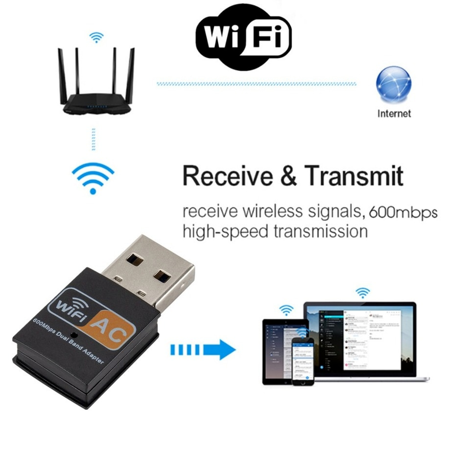 GRWIBEOU USB WiFi Adapter 600Mbps wi fi Dongle PC Network Card Dual Band wifi 5 Ghz Adapter Lan USB Ethernet Receiver AC Wi-fi enlarge