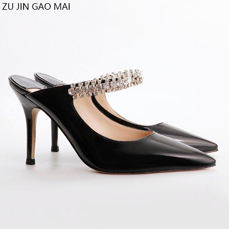 Sandalias de verano de tacón alto con diamantes de imitación, zapatos de mujer con punta de charol negro, sandalias sexis de moda con diamantes de imitación, sandalias Semi Drag