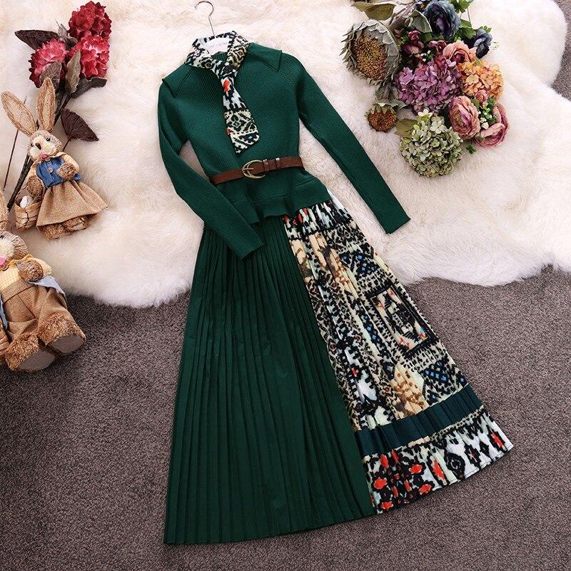 Yeni kadın Vintage elbise 2019 bahar sonbahar ince kemer uzun elbise bayanlar zarif baskılı Patchwork kazak elbiseler Vestidos