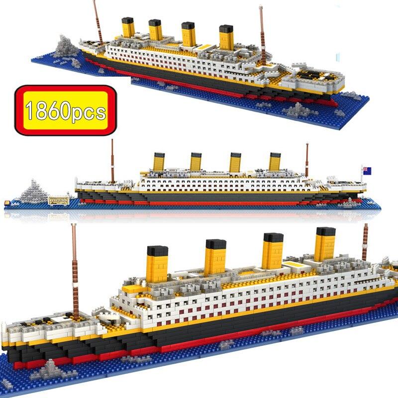 1860 шт. блоки Титаник модель круизного корабля лодка Модель для сборки Сделай Сам строительные блоки Классическая кирпичная игрушки Рождест...