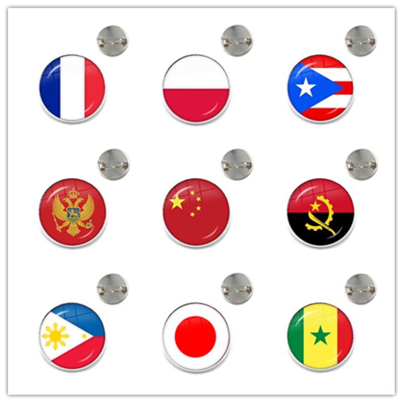 National Flag Brooches France Poland Puerto Rico Montenegro China Angola Senegal Philippines Japan Collar Pins For Women Men