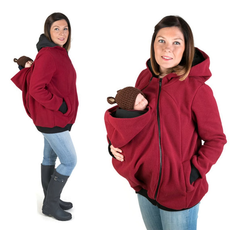 Mother Kangaroo Hoodie Sweater Jacket Maternity Clothes Thicken Coat For Pregnant Women Parenting Child Winter 2020 Brand