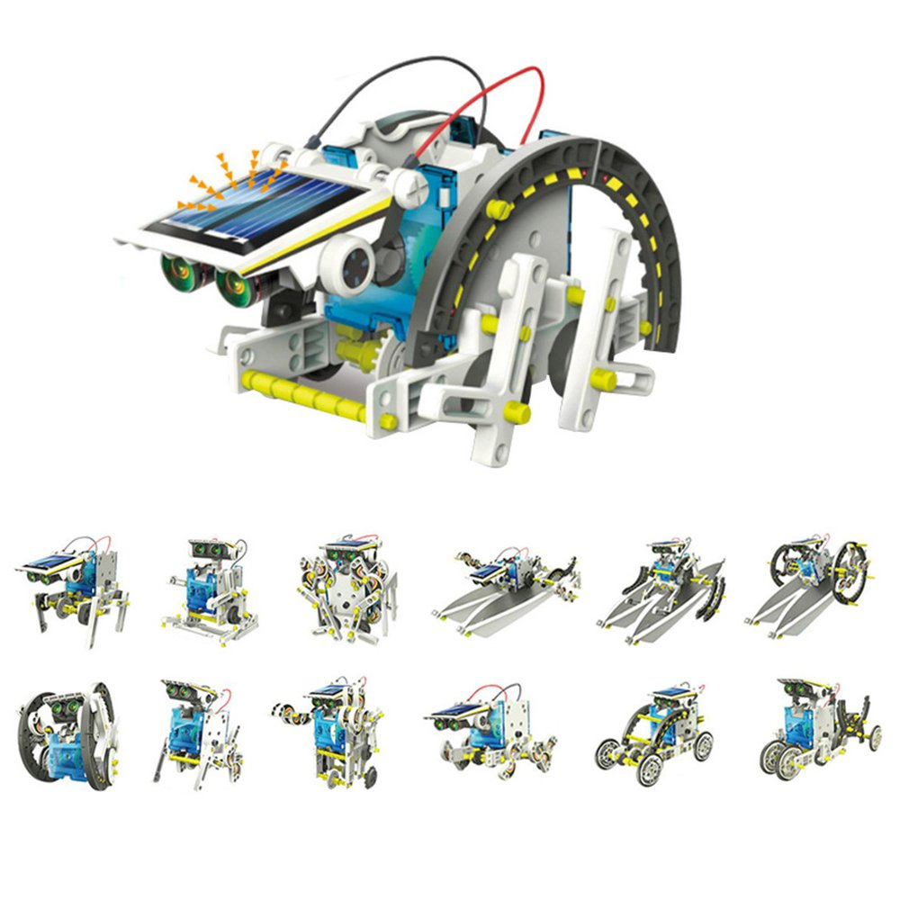 13 In 1 Educational Solar Robot Kit Power DIY Assembled Toy Car Boat Animal Blocks Kids Toys Gift Puzzle