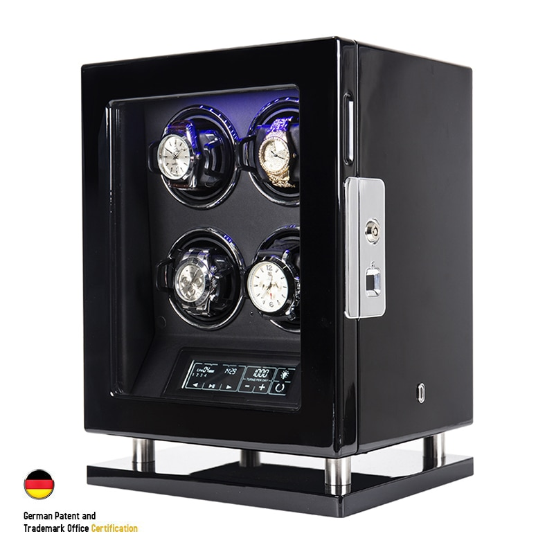 Automatic Watch Winder With 4 Slot Mechanical Watches Wood Box Fingerprint Unlock Quiet Smart Remote Control Touch Screen Boxes