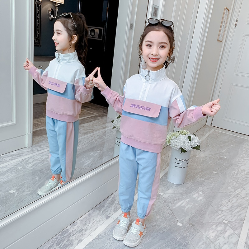 Girls Clothing Suit 2021 Autumn Kids Girl Long Sleeve Shirts & Pants 2Pcs School Children Clothes Casual Tracksuit 5 6 8 9 10 12 girls sweater turtleneck knitted long sleeve kids clothes autumn 2018 casual children school uniform size 8 10 12 13 15 year