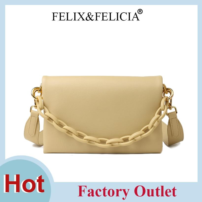 FELIX&FELICIA Factory Fashion Handbags Genuine Leather Shoulder Bags Women Ladies Designer Luxury Crossbody Flap Chain Tote Bag