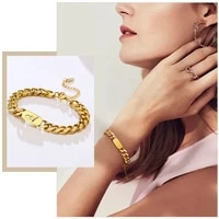 women free personalized letters braceletgold tone bold chunky cuban chain wristband jewelrycustom gift for her