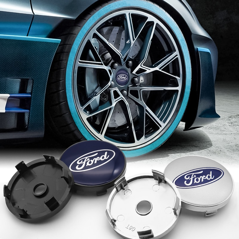 60mm ABS plastic wheel center car hub cap + aluminum sticker for Ford- Escape Kuga Mondeo Ecosport Fiesta Focus2 3 Fusion  - buy with discount