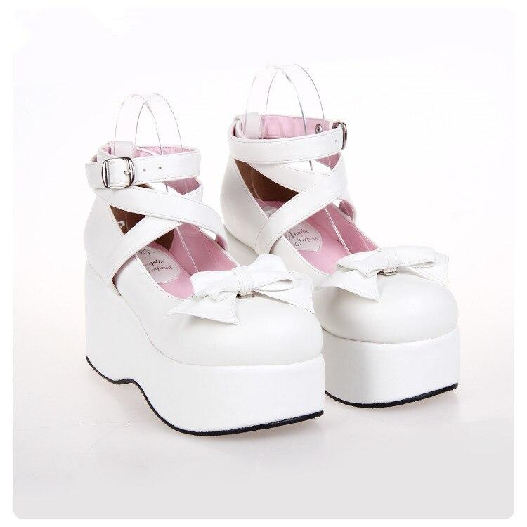 الرجعية لوليتا أحذية سميكة سوليد الخبز أحذية لطيف عالية الكعب طالب Teahouse الأحذية