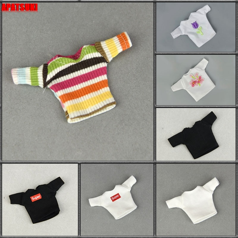 Fashion Shirts Short Crop Tops For Barbie Doll Outfits Clothes For Blythe Dolls Accessories 1/6 BJD Dollhouse Kids DIY Toys 5 sets fashion casual wear doll clothes tops t shirt jacket pants outfits accessories for barbie boy friend ken dolls cloth toys