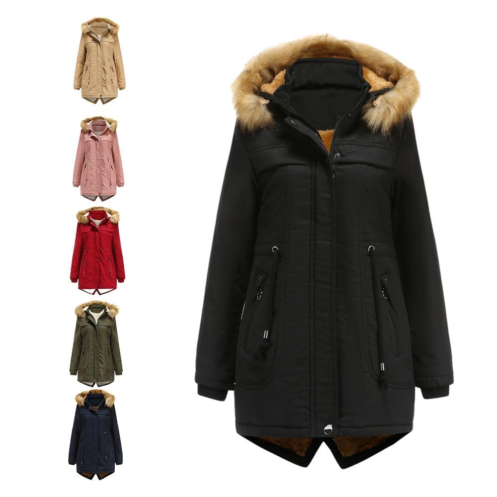 Hot البيع النساء الموضة مقنعين فو الفراء معطف حجم كبير السيدات الفراء بطانة معطف الشتاء الدافئة سميكة طويلة جاكيتات مقنع معطف القمم