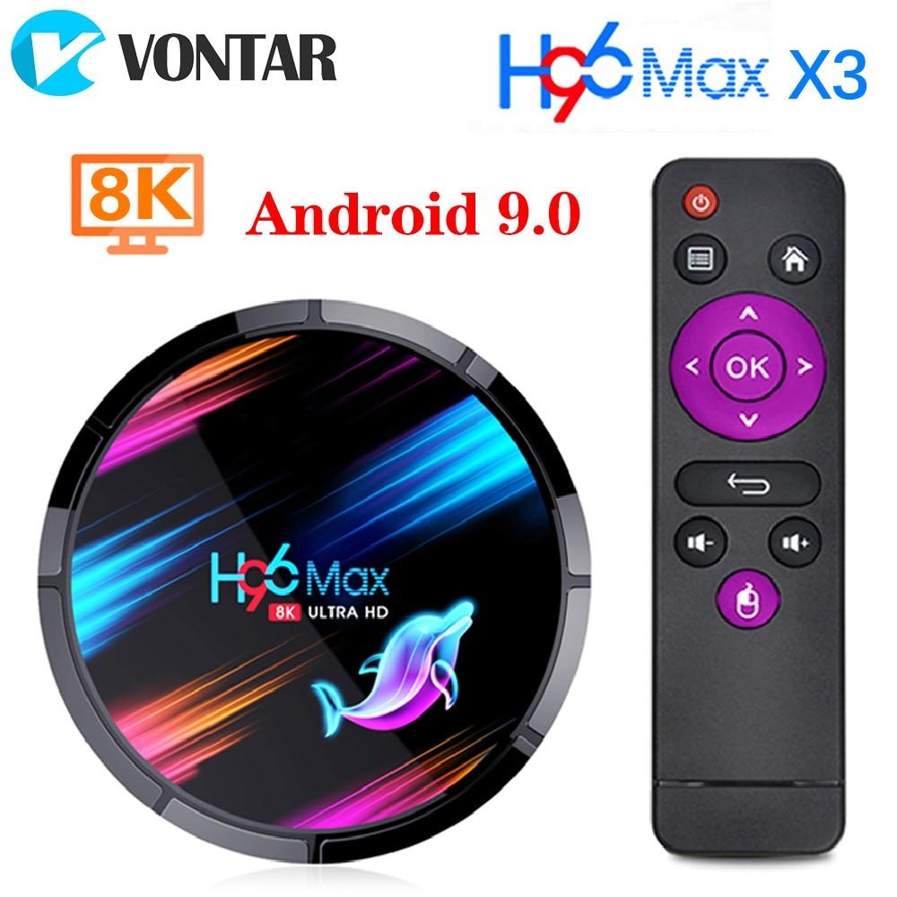 2020 h96 max x3 android 9.0 caixa da tevê 4 gb 128 gb 64 gb 32 gb amlogic s905x3 quad core wifi 8 k h96max x3 tvbox android conjunto caixa superior