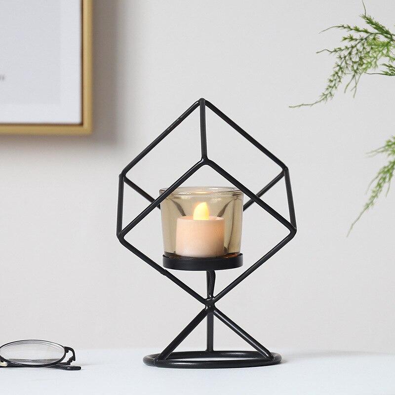Ferro geométrico nordic castiçal preto metal moderno criativo simples bougeoirs romântico jantar decoração mm60zt
