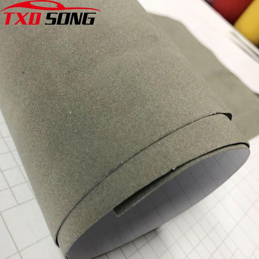 Terciopelo de ante gris de calidad superior para revestimiento para coche, vinilo para revestimiento para coche, película adhesiva de terciopelo ping