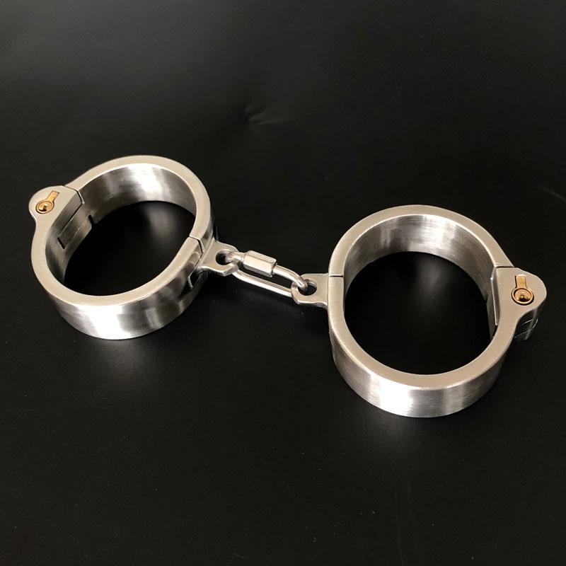 أصفاد قابلة للإزالة من الفولاذ المقاوم للصدأ BDSM عبودية ألعاب الكبار القيود المثيرة الرقيق الوثن أصفاد اليد ألعاب جنسية للأزواج