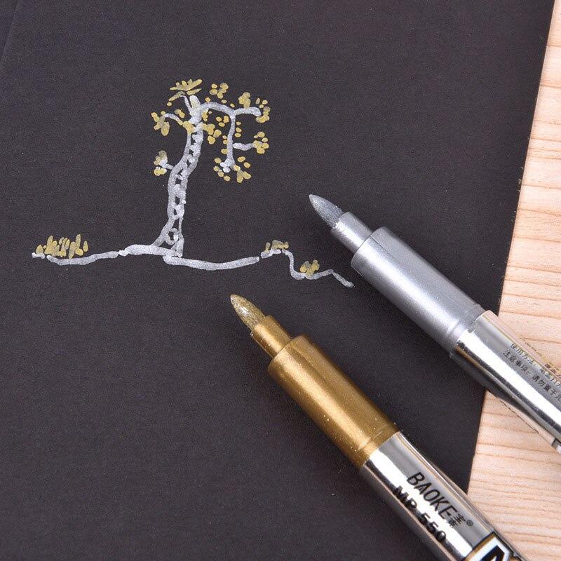 2-pz-lotto-metallico-artigianato-penna-oro-argento-metallico-penna-di-indicatore-per-il-nero-di-carta-cd