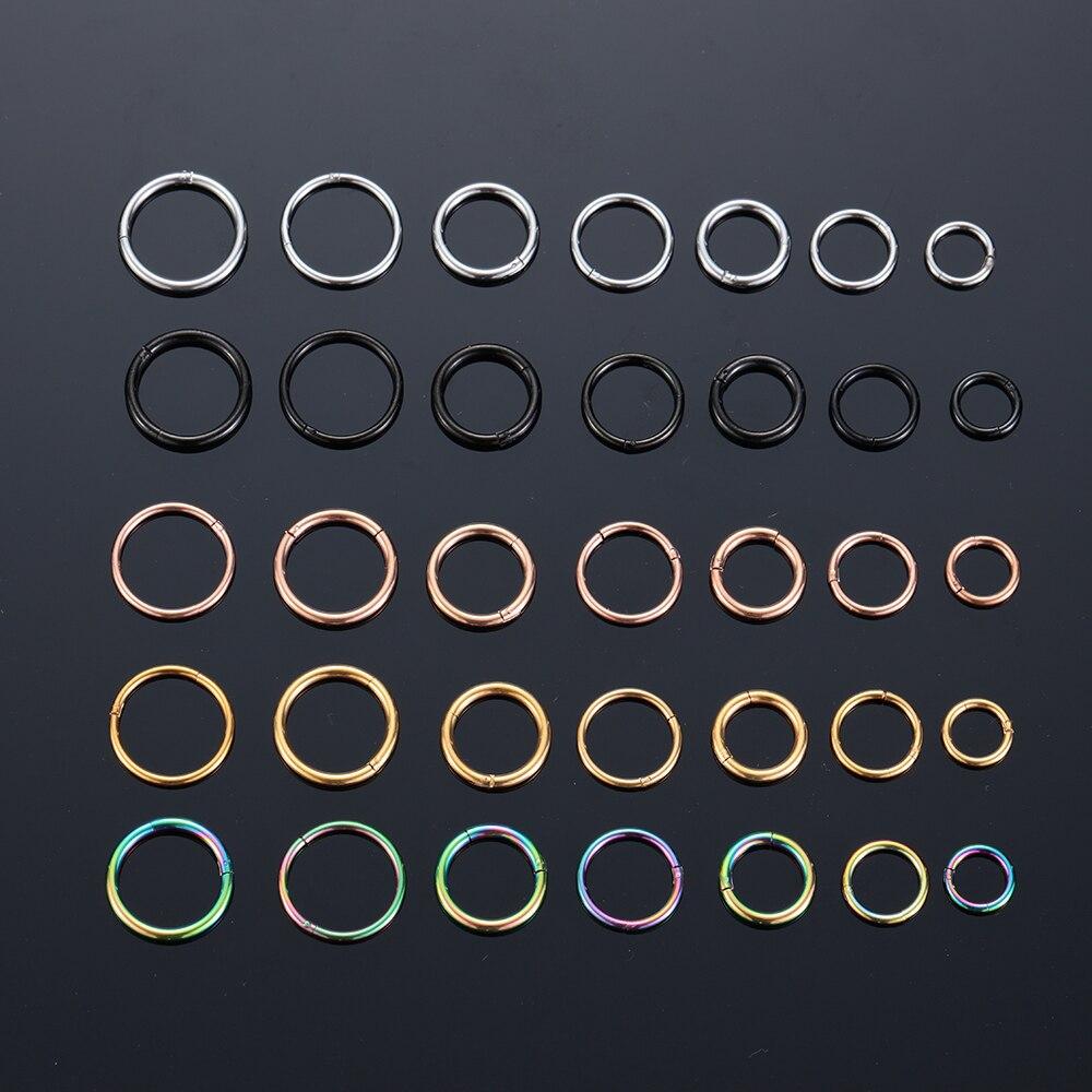 Unisex titanio G23 de acero segmento abisagrado aro de nariz labio anillo oído helicoidal trago Piercing para tabique Unisex de la joyería de moda
