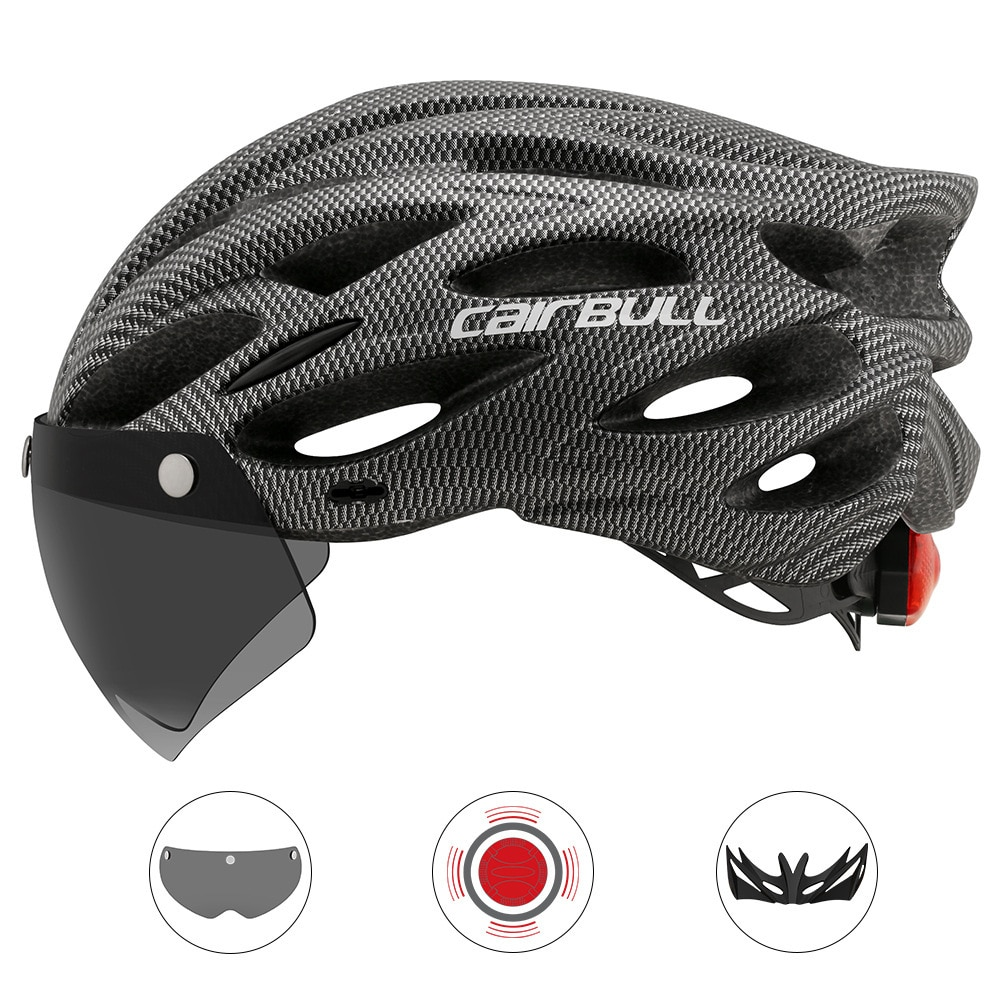 Cycling Helmet With Removable Visor Goggles Bike Taillight Mountain Road MTB Helmets Intergrally-molded  Bicycle Casco