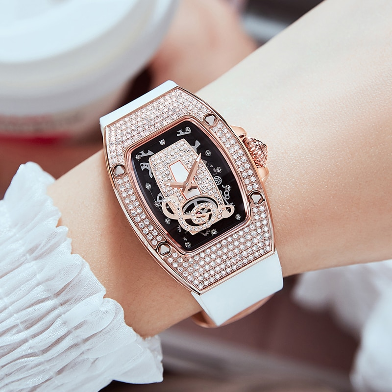 Hanboro New Square Fashion Trend Personality Hollow Out Waterproof Watch With Diamond Notes Quartz Women's Watch Relogio  Women