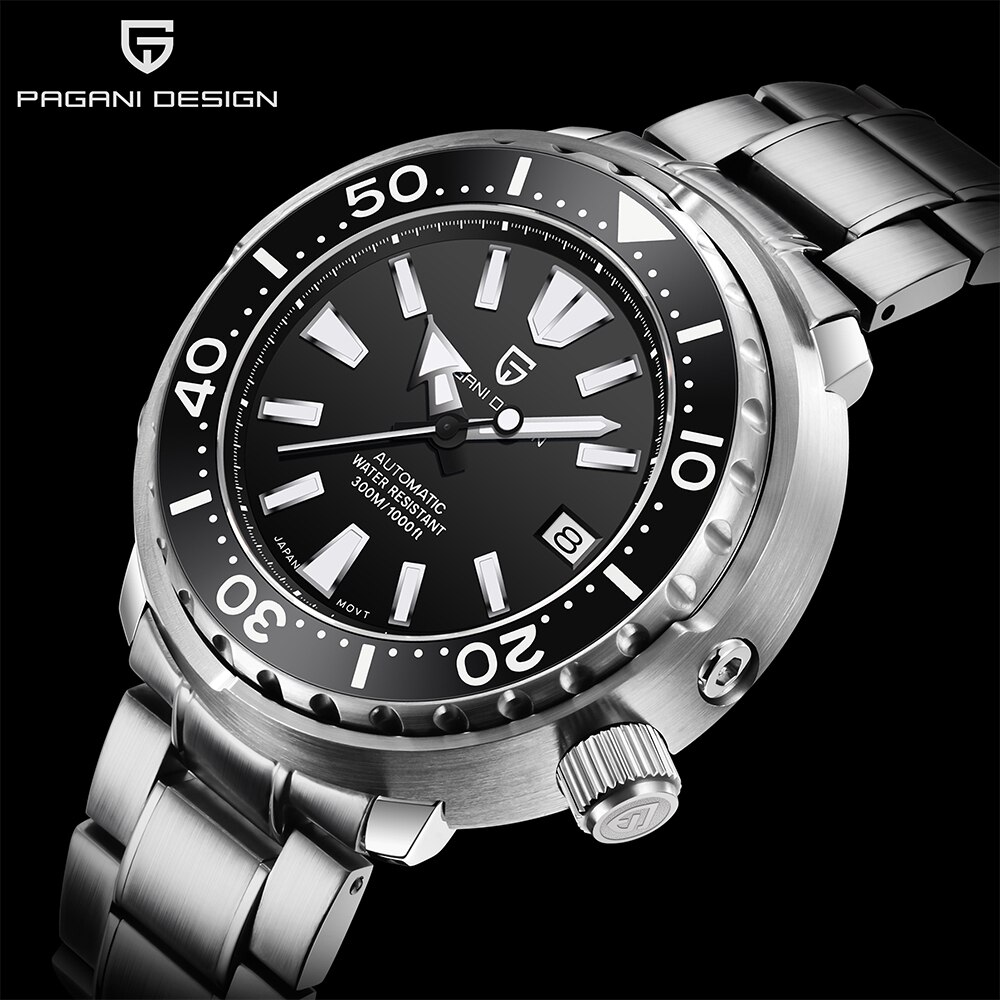 PAGANI DESIGN New Luxury Men Mechanical Wristwatches Fashion Ceramic Bezel 300m Diving Watches Stainless Automatic Watch for Men