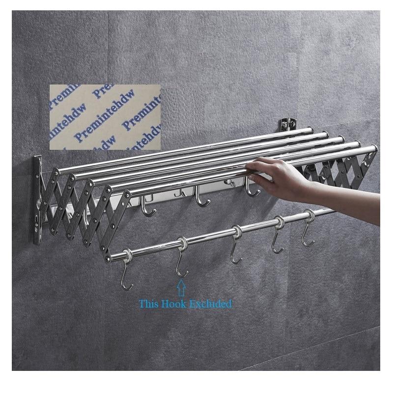W60-100CM 201 304 الفولاذ المقاوم للصدأ جدار جبل Foldble للطي منشفة رف المسمار أو شحن جدار الحفر ملصقا