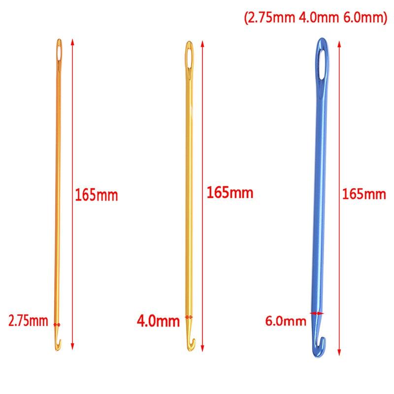 2,75/4/6MM 1 Uds agujas de aluminio para tejer DIY ganchos de ganchillo tunecino herramienta con un ojo tejer agujas de coser