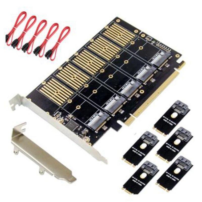بطاقة توسيع مهايئ من PCIe Gen3 X16 إلى 5 منافذ M.2 NGFF B-Key SATA 6Gbps بطاقة توسيع SATA 3.0 5X B-Key SSD مع كابل بيانات SATA