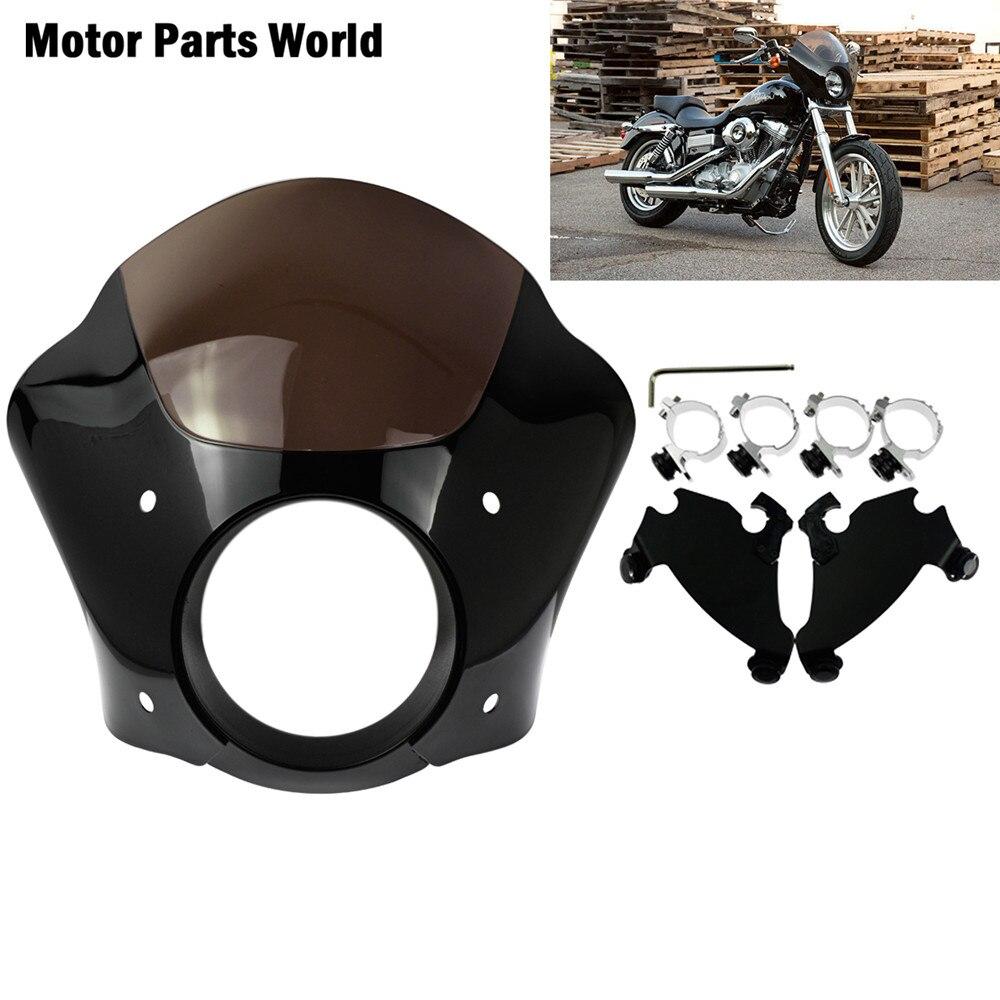 Carenado de faro de motocicleta con bloqueo de gatillo de 39mm montaje negro para Harley Sportster XL1200 883 superbajo Roadster personalizado