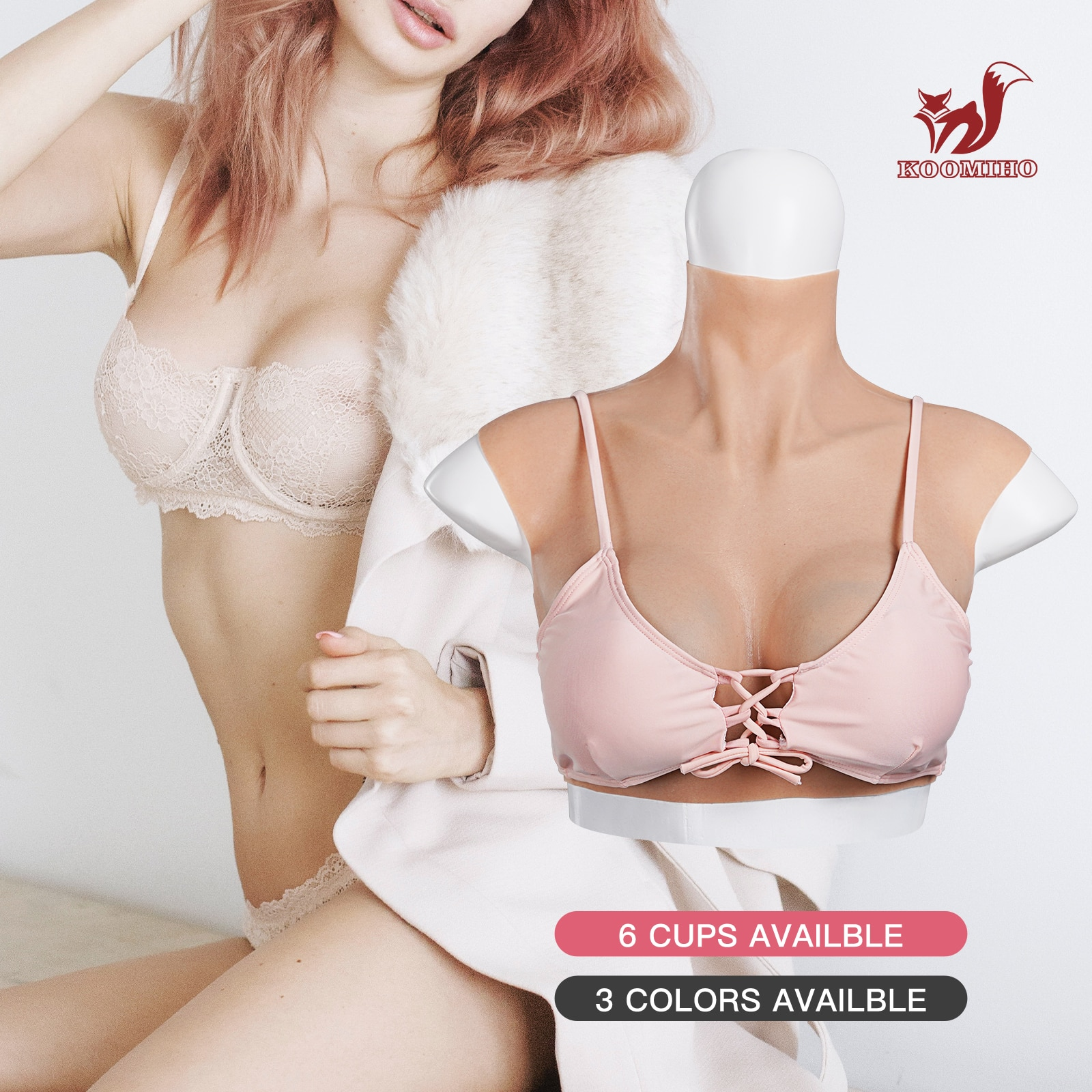 KOOMIHO New Hot Realistic Silicone Breast Forms Crossdresser A/B/C/D/E/G Cup Fake Boobs Drag Queen Shemale Transgender Cosplay