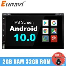 Eunavi 2 din android 10.0 universal car dvd radio stereo multimedia player 2din GPS Navi headunit IPS touch Screen wifi in dash