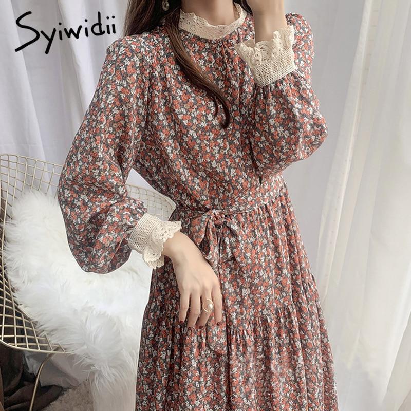 Женское платье с цветочным принтом Syiwidii, кружевное платье средней длины с воротником и длинным рукавом для вечеринки на весну и осень, размера плюс | Женская одежда | АлиЭкспресс